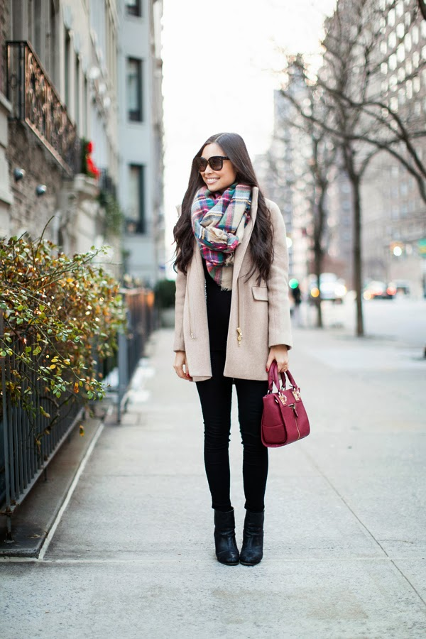 J. Crew Cocoon Coat and Zara Plaid Scarf