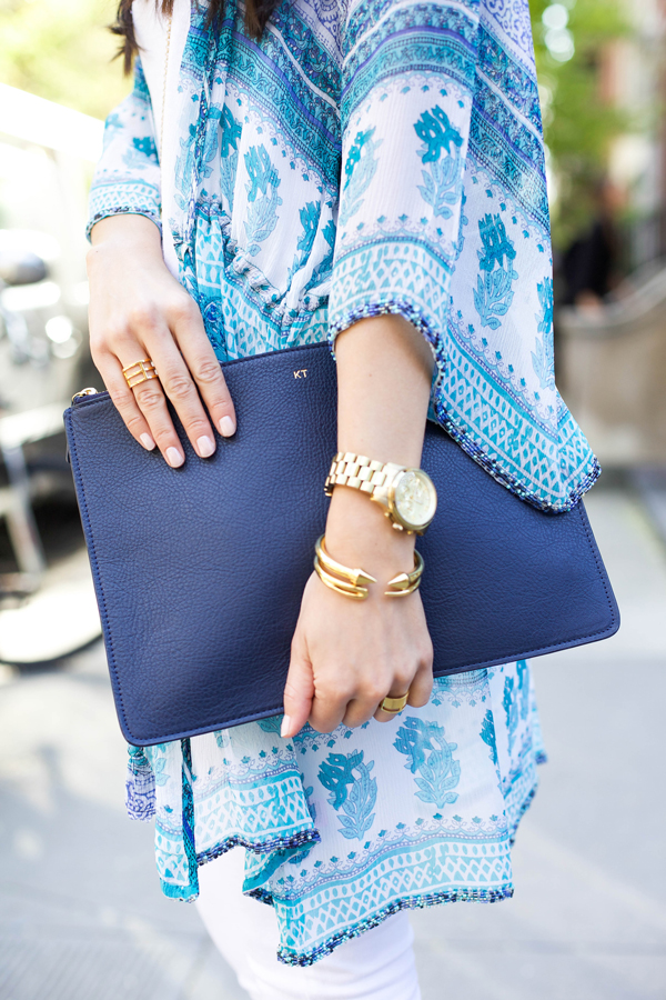 Mark and Graham Navy Monogrammed Clutch, Vita Fede Titan Bracelet, Brandy Pham Gold Bangle, Svelte Metals Ring