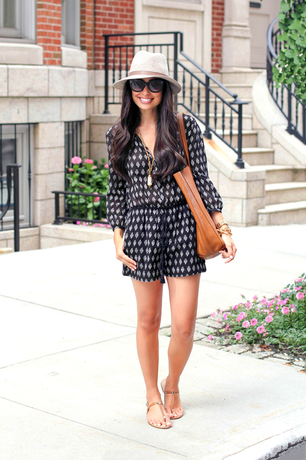 Madewell Romper With Sole Society Sandals.