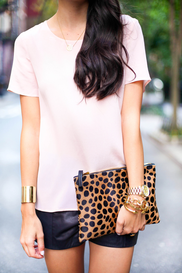 Gold cuff and clutch