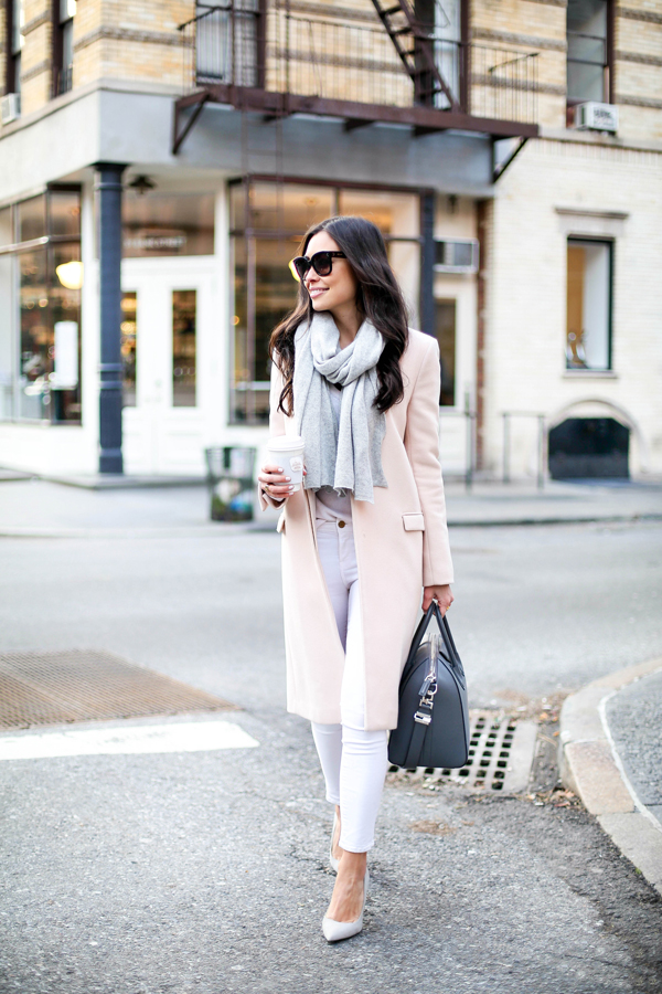 Blush winter coat with white skinny jeans and grey scarf