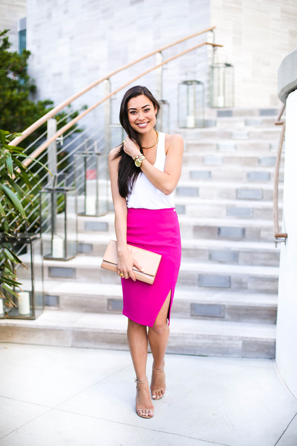 Bright Pink Pencil Skirt - Dress Ala