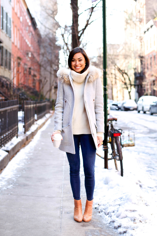 Grey Coat With Cream Sweater And Booties