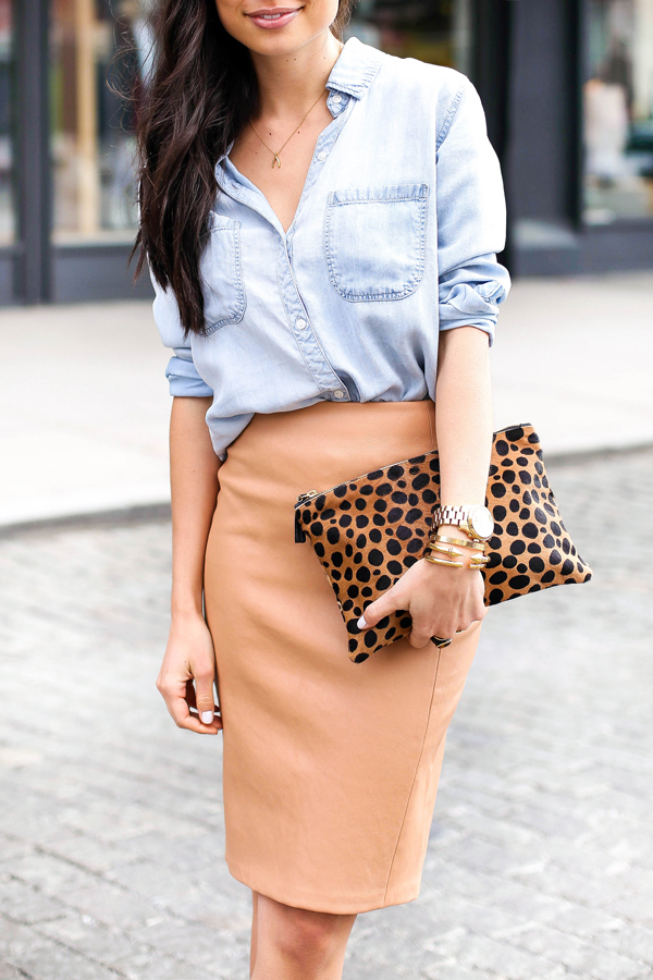 Leather pencil skirt with chambray shirt