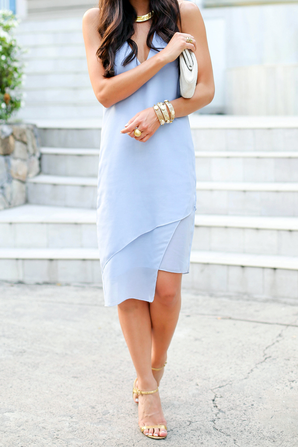 Blue Cocktail Dress With Gold Heels