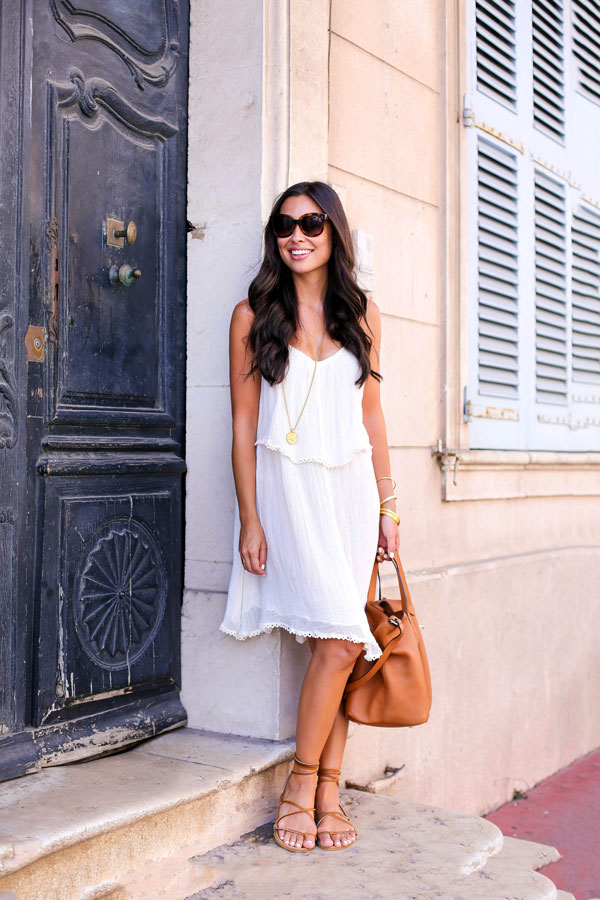 White Dress With Gladiator Sandals