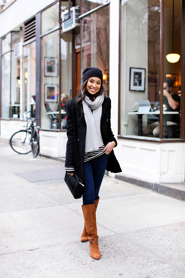 Fashion style How to peacoat a wear with jeans for lady