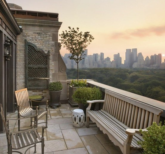 Chic outdoor spaces for Central park penthouses for sale