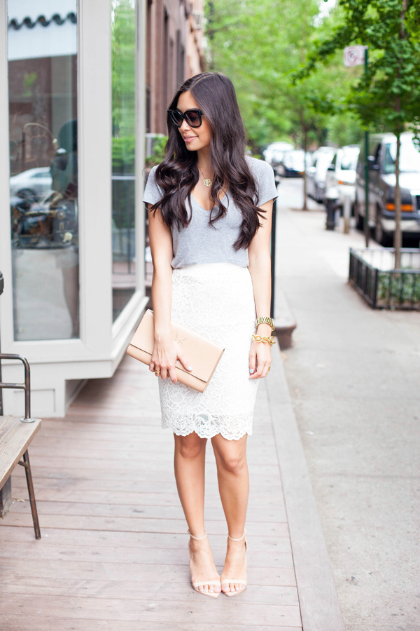 187cef9f434b Day to night outfit: White lace pencil skirt and grey shirt.