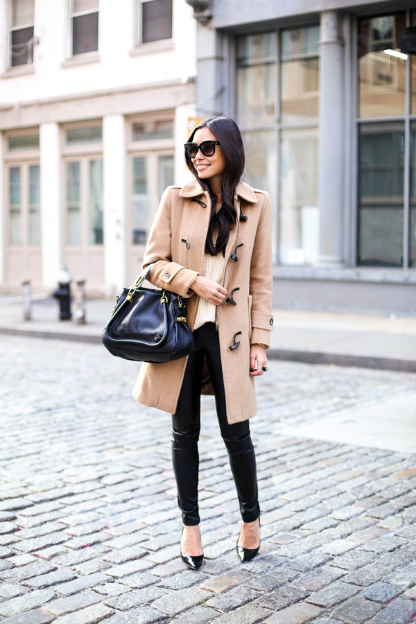 Burberry Toggle Coat With Leather Leggings