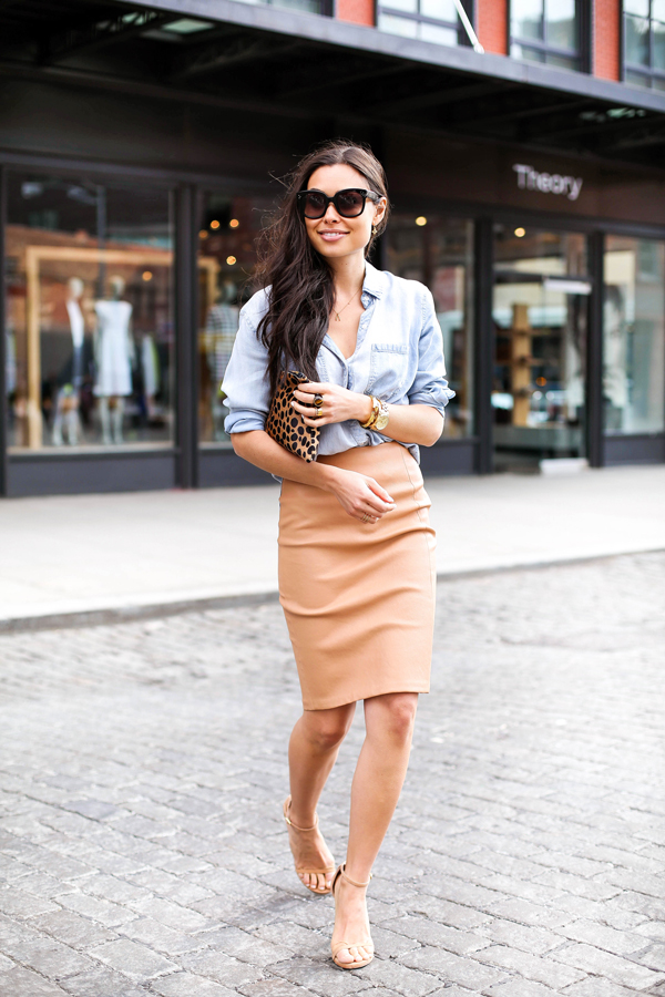 How to Wear Tight Skirts with Shirt, Blouse, Boots, and Tennis