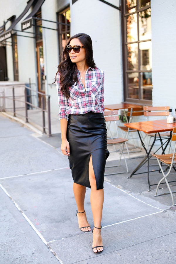 d569173322c1 Leather pencil skirt with plaid shirt